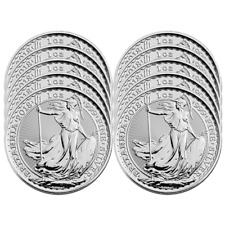 Lot of 10 - 2018 U.K. 2 Pound Silver Britannia .999 1 oz Brilliant Uncirculated