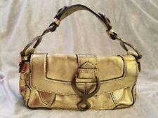 Cesare Paciotti Gold Metallic Leather Small Shoulder Flap Handbag Purse