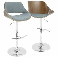 OPEN BOX Fabrizzi Mid-Century Modern Adjustable Barstool with Swivel in Walnu...