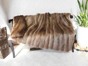 GENUINE REAL GOLDEN LONG HAIR BEAVER FUR THROW BLANKET COVERLET NO MINK COAT
