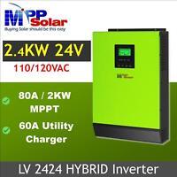 2400w 24v 110v Hybrid Solar inverter 80a MPPT solar charger +60a battery charger