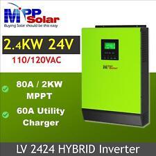 Hybrid Solar inverter 2400w 24V 110V 80a MPPT solar charger 60a battery charger