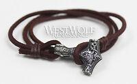 Leather Viking Mjolnir Hammer Bracelet - Norse/Silver/Thor/Odin/Dragon - S M L