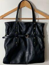 TOMAS MAIER Tote Shoulder Bag Black Leather Metal Stud Canvas Interior - Flaws
