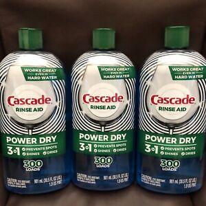3 LARGE BOTTLES-Cascade Platinum POWER DRY Rinse Aid-3in1- 30.5 FL OZ/901 mL.