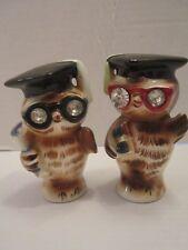 Vintage Lefton Owls Salt & Pepper Shaker. Rhinestone Eyes. Graduate Cap diploma
