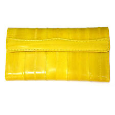 Genuine Eel Skin Leather Woman Long Wallet Trifold Purse Yellow