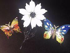 LOT 3 Vintage 50s 60s Enamel Flower Butterfly Brooch Pin Estate Jewelry