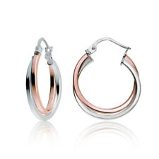 Rose Gold Tone over Silver Two-Tone Intertwining Square Tube Hoop Earrings, 20mm
