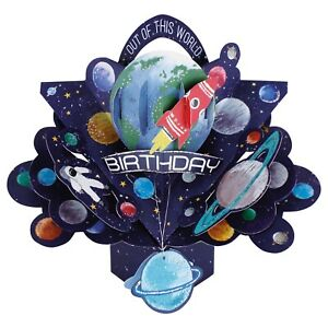 Birthday Card 3D Pop Up Card Space Rockets Planets Boy Grand Son Nephew