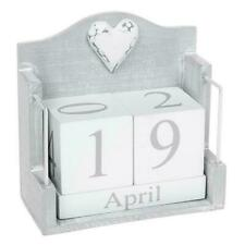Natural Grey and White Shabby Chic Finish Wooden Perpetual Calendar 291655