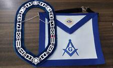 Blue Lodge Chain Collar , Master Mason Apron Set, Masonic Aprons, MM Aprons
