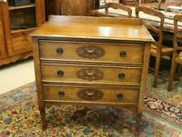 English Tiger Oak Arts & Crafts 3 Drawer Chest | Bedroom Furniture