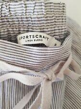 Sportscraft Size 18 Linen Blend Rosa Stripe Pants Navy/White Womens