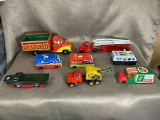Lot of 8 Vintage Japanese Tin Toy Mostly Friction Cars_ Juice, Ice Cream, & More