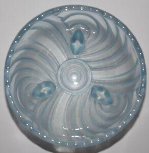 Frosted Blue Tri Footed Depresssion Glass Bowl Swirl Harlequin Vintage Tableware