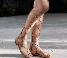 New $225 Michael Kors Sofia Gladiator Tall Leather Sandal Suntan Brown sz 7