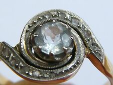 Antique-French-Art Nouveau-18ct Gold/Aquamarine/Dia Belle Epoque Tourbillon Ring