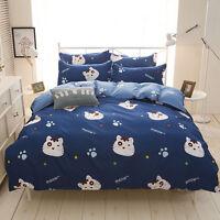 Home Single Queen King Bed Set Pillowcase Quilt Duvet Cover Taul Cute Cat xmmm