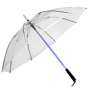 B-Ware Regenschirm mit LED +Taschenlampe-transparent-Farblos-Bunter LED
