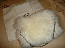 New UGG Sheepskin Fur FLUFF MOMMA Cream Handbag Clutch Hand-warmer Muff FL802