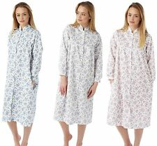 Womens Marlon Lightweight Floral Quilted Button Front Gown House Coat Nightwear 10-12 Blue Sprig