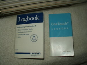 vtg diabetic log books diary lot of 2 57 weeks total ! 1ea lifescan & one touch