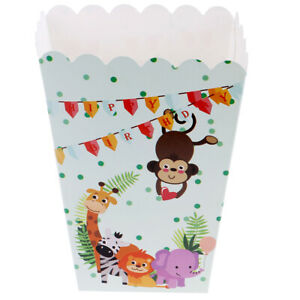 6pcs/lot Safari Animals Popcorn Box Candy Case for Kids Birthday Party Decorsh