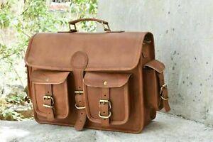 Vintage Leder Aktentasche Arbeitstasche Schultertasche UNI BAG Messenger New