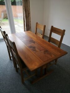 Solid Dining Table  teak solid with tiles  KEITH EATWELL £999.