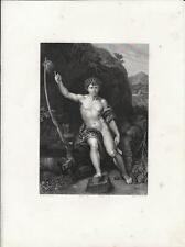 Stampa antica SAN GIOVANNI BATTISTA da Raffaello 1857 Old antique print