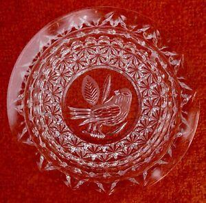 Hofbauer Byrdes Bird Collection Crystal NAPKIN HOLDER Butter Plate /Footed Vase