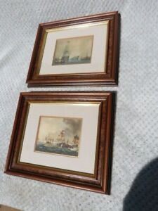 QUALITY PAIR VINTAGE FRAMED PRINTS OF NAUTICAL BATTLE SHIPS