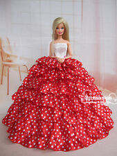 Fashion Royalty Princess Red polka-dot Dress Ballgown Gown For Barbie Doll c003