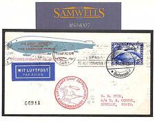 MS4007 1930 GERMANY PAN AMERICA FLIGHT COVER  Zeppelin Airmail SPAIN Seville