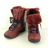 NEW Womens Fila DISRUPTOR BOOT Winter Fur Lined Fasion Sport Boot TAWN/fnvy/fred