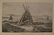 Esquimaux Eskimo Lodge Burial Alaska 1881 Engraving