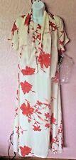 Womens Premier International Dress & Scarf Size M 10-12 Cream Floral Maxi New