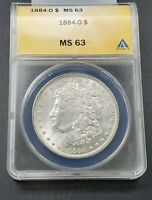 1884 O Morgan Silver Dollar Coin ANACS MS63 Choice BU UNC Nice coin