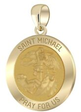 New 7/8in 14k Yellow Gold Round St Saint Michael Hollow Medal Pendant