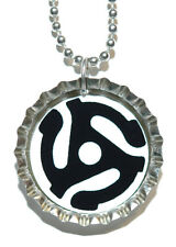 45 RPM RECORD ADAPTER BOTTLE CAP NECKLACE (CAP040a)