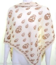 ALEXANDER McQUEEN SKULL PLISSE CREAM AND BROWN PASHMINA SCARF BNWT
