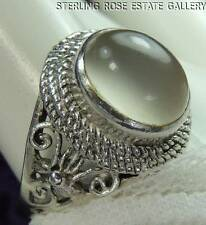 Hand Crafted MOONSTONE STERLING SILVER 0.925 Estate RING size 8