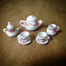 5pc Mini Porcelain Tea Party Set  Alice in Wonderland Teacups, Creamer, Pot, etc