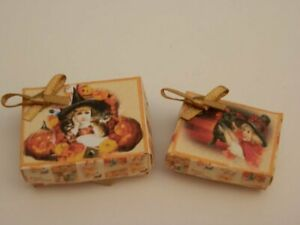 Dolls house : 1/12th Handmade Two halloween  gift boxes  -By Fran