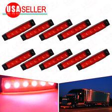 10PCS Red 6 LED Bus Van Truck Sealed Light Trailer Side Marker Truck Light