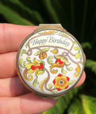 Halcyon Days Enamels England Happy Birthday Round Shaped Bonbonniere Box