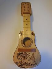 "Small UNIQUE Handmade Wooden toy Mini GUITAR Spanish - Play or Display 15"" x 5"""