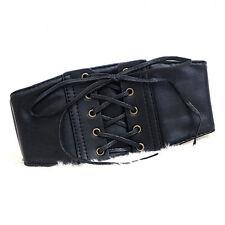 Womens Elastic Extra Wide Corset Tie High Waist Waistband Slimming Belts black