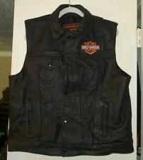 Harley Davidson Antelope Creek Heavy Leather Motorcycle Vest RARE Mens XXL